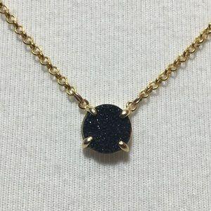 Dainty black druzy necklace